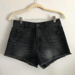 Zara Black High-Waisted Jean Shorts